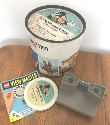 VINTAGE VIEW MASTER Disney GIFT PACK with reels .1960s Mickey retro VIEWMASTER