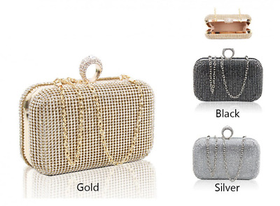 New Womens Ladies Diamante crystal beats Clutch Bags Prom Wedding night Party
