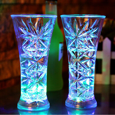 LED Flashing Glowing Water Drinking Wine Glass Cup KTV Halloween Gift
