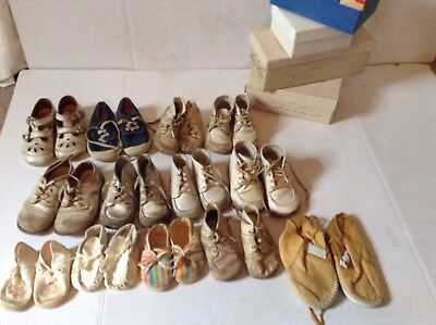 Vintage Leather Baby Shoes LOT of 13 Pairs Well Worn Variety Size Antique