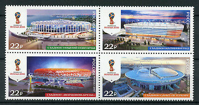 Russia 2017 MNH World Cup Football 2018 Stadiums 4v Block Soccer Stamps