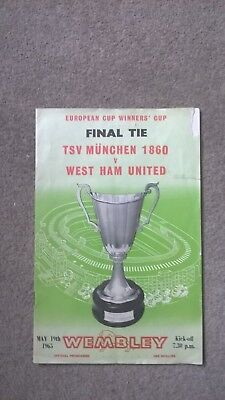 1965 European Cup Winners Cup Final programme West Ham v. TSV Munich 1860