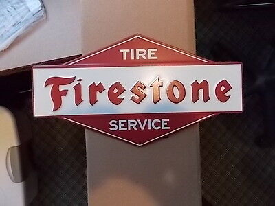 "11"" Red & White FIRESTONE Tire Service TIN SIGN EMBOSSED VINTAGE LOOK **NICE**"