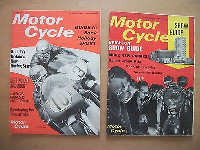 """""""motor Cycle"""" Mags  26 Aug, 9 Sept 1965 - Brighton Show Issue.   Bill Ivy"""