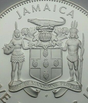 Jamaica 5 Dollars 1973FM. KM#59. .925 Silver Proof Crown coin. 1.2335 oz. ASW