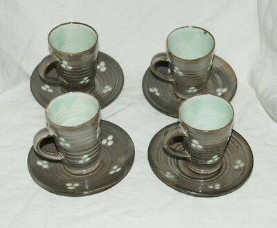 4 x Fishley Holland Studio Pottery  - ESPRESSO Cup & Saucer Sets