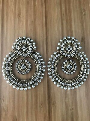 New Ethnic Inidan/Pakistani Party Wear Earrings White Pearls Jhumka Jhumki