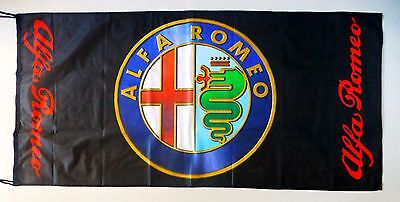 ALFA ROMEO FLAG BLACK - SIZE 150x75cm (5x2.5 ft) - BRAND NEW