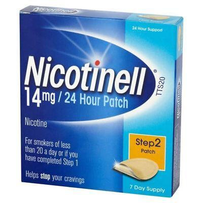 2 x Nicotinell Nicotine Patches Stop Smoking Aid 14mg 24-Hour Step 2 14-Day Supp