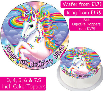 Unicorn Edible Wafer & Icing Personalised Cake Toppers Birthday Party Rainbow