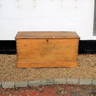 Antique Pine Blanket Box with Internal Drawer and Candle Box