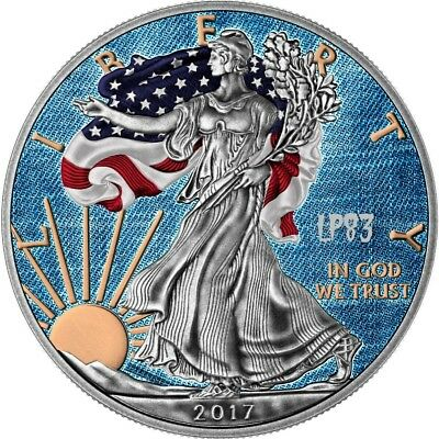 2017 1 Oz Silver $1 AMERICAN EAGLE JEANS Coin WITH 24K GOLD GILDED..