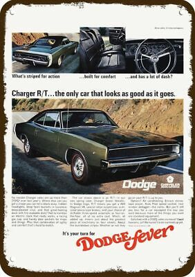 1968 DODGE CHARGER R/T 440 V8 GREEN METALLIC Car Vintage Look Replica Metal Sign
