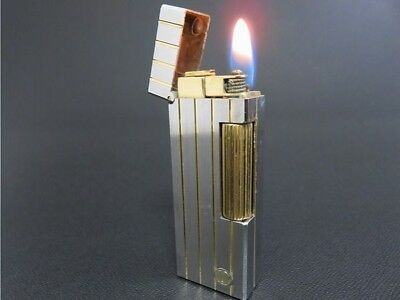 ALFRED Dunhill Rollagas Lighter Silver & Gold Line SWISS MADE [623-2]