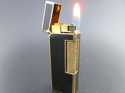 RARE!! Dunhill Vintage Rollagas Lighter Black Lacquer & Gold [559]