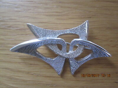 Sarah Coventry Vintage Mid-Century Brooch Silver Tone Modern