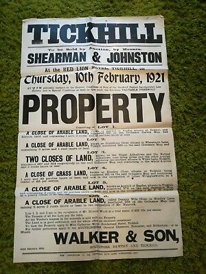 Large Original 1921 Property Auction Advertising Poster