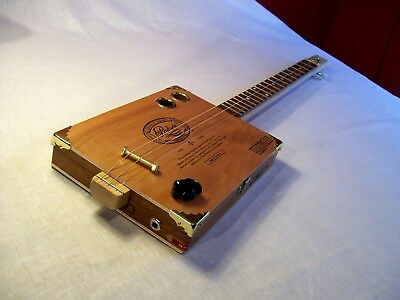 Cigar Box Guitar Nicaraguan 3 String Fretted Acoustic/Electric LISTEN BELOW