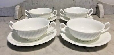 Set of 4 Minton White China Fife Soup Bowls / Coupes with Saucers MINT