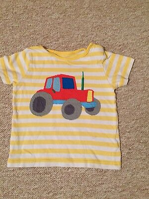 Boden Boys Tractor Yellow Tshirt 12-18 Months