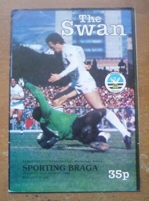 Swansea v Sporting Braga, 1982/83 - Cup Winners' Cup, Prem. Round Programme.