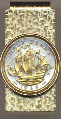 Great Britain 1/2 Penny Sailing Ship Coin Gold on Silver Hinge Money Clip w/ Box