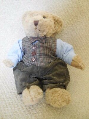 Barrington Stuffed Bear With Wool and Cordoroy Outfit