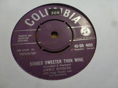 Jimmie Rodgers Kisses Sweeter Than Wine 1957 Columbia  Rare Very Nice