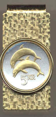 Iceland 5 Kronur Dolphin Coin 24 Carat Gold on Silver Hinge Money Clip Gift Set