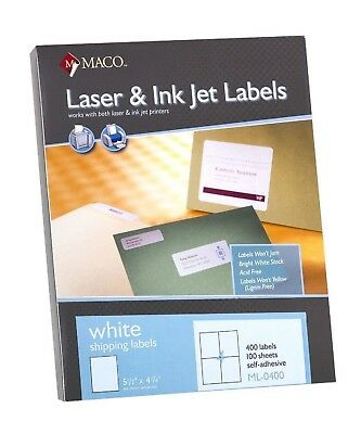 "Maco ML0400 Laser/Ink Jet Shipping Labels 5-1/2 x 4-1/4"" 4/Sheet 400/box"