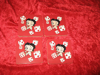 Betty Boop Set Of 4 Drink Coasters Hearts Dice