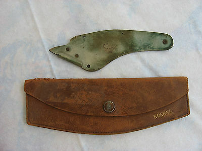 """Very Old """"evernu""""   Furriers  Razor Utility Knife  With Leather Case"""