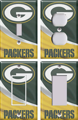 GREEN BAY PACKERS 2 Yellow Light Switch Covers Football NFL Home