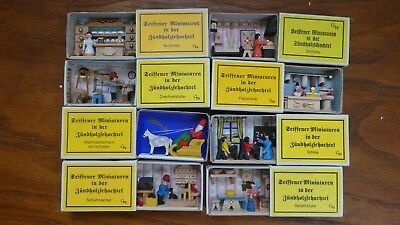 8 Miniature Dregeno matchbox scenes. Christmas market, authentic. German.