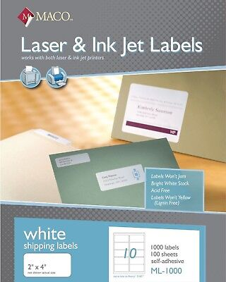 "Maco ML1000 Laser/Ink Jet Shipping Labels 2 x 4"" 10/Sheet 1,000/Box"