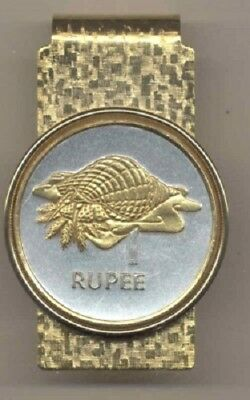 Seychelles 1 Rupee Conch Coin Gold on Silver Hinge Money Clip Gift Set with Box