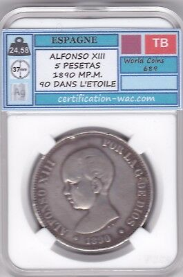 5 Pesetas Alfonso Xiii 1890.mp.m Argent/silver Espagne