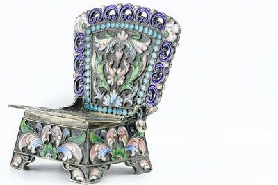 A Beautiful Antique Russian Silver 84 Cloisonne Shaded Enamel Salt Throne
