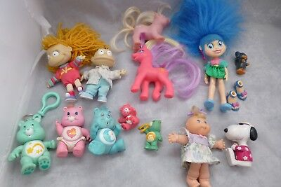 Vintage Toy Figure Bundle Care Bears, My Little Pony, Rugrats, Cabbage Patch Kid