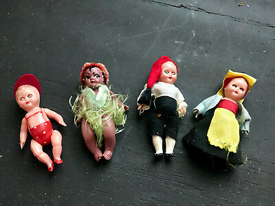 4 Vintage Minature Doll Set Open & Closing Eyes
