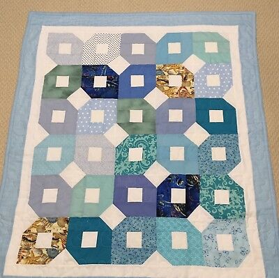 New Handcrafted Cotton Sea And Sand Colors Patchwork Baby Quilt
