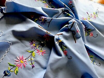 Vintage Hand Embroidered Blue Linen Tablecloth & Six Matching Napkins