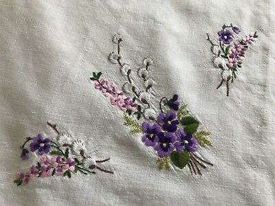 Vintage Hand Embroidered Cream Linen Table Centre Tray Cloth 21x13 Inches