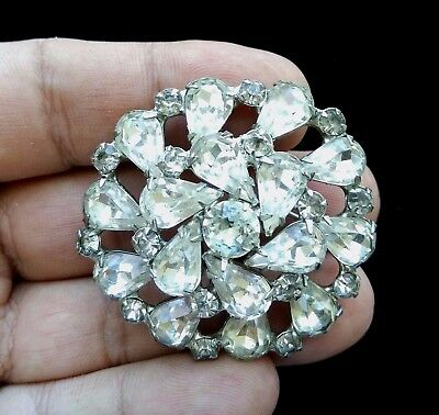 """Vintage Silver Tone Signed WEISS Rhinestone Brooch 2"""" S100"""
