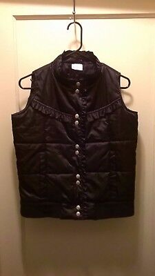 HANNA ANDERSSON Girls 160 Puffer Vest Jacket Black with Ruffles Sz 14-16