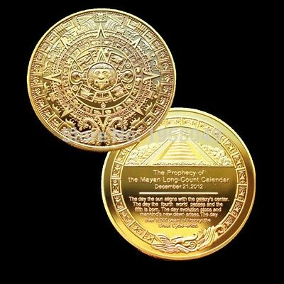 2012 Mayan  ONE Troy OZ gold plated  coin