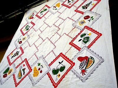 Vintage 40's fruits and napkins printed Tablecloth