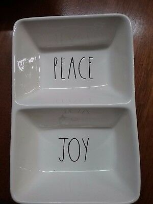 New RAE DUNN  PEACE JOY by Magenta  Candy Dish Divided Two Sided Tray