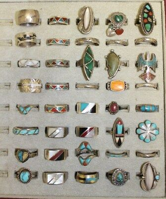 40 Sterling Silver Rings Vintage 70's New Old Stock Native American Turquoise