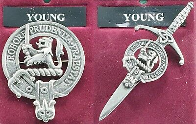 Young Scottish Clan Crest Pewter Badge or Kilt Pin